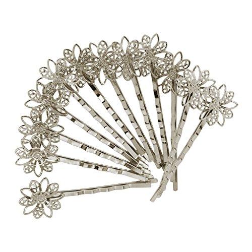 Fenteer 12 teilig Braut Haarnadeln Strass Haarklammern Blumen Blüte Hochzeit Haarschmuck Haarclip Haarspange Blumenhaarnadel Kommunion Brautschmuck - Silber