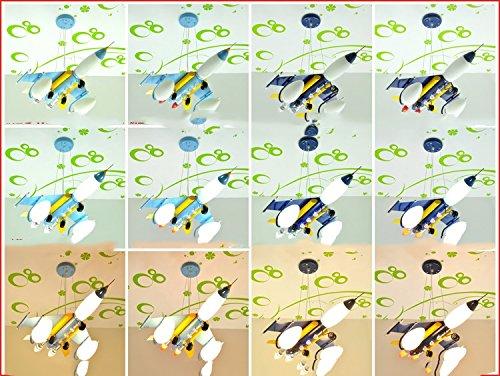Doppel-Saug-Hängelampe Kinderzimmer Kronleuchter Flugzeug Cartoon Jungen und Mädchen mit Schlafzimmer Deckenbeleuchtung ( farbe : Navy blau ) - 2