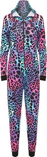 WearAll - Combinaison à capuche avec les imprimés variés - Combinaisons - Femmes - Tailles 36 à 42 Turquoise et Cerise Animaux