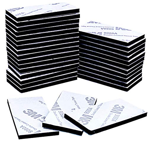 euhuton 50 Stücke Doppelseitig Schaumstoff-Pads Schaumband Doppelseitiges Klebeband Montage-Pad Selbstklebend, Rechteck, Schwarz -