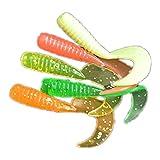 VORCOOL Esche pesce Artificiali in silicone per Pescare a forma di verme (20 Pezzi) (Colore Casuale)
