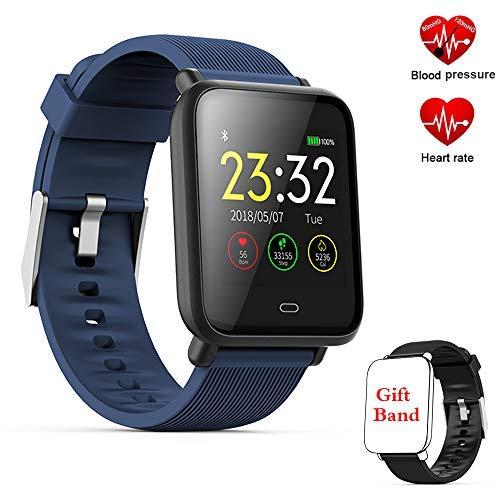 Fitness Tracker, Fitness Armband Smartwatch mit Herzfrequenz-Blutdruckmessgerät, 1,3 Zoll TFT-Farbbildschirm Fitness-Uhr mit Message Reminder Schlaf Monitor (Q9-Blue)