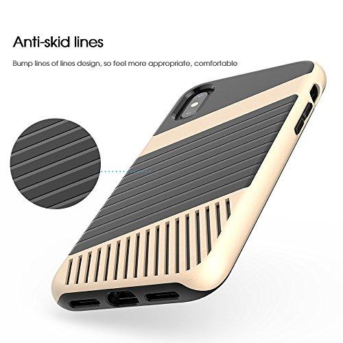Cover iPhone X, FugouSell Elegant Slim PC + TPU Ibrido Combo Double Full Body Protection Custodia [Antiurto Antiscivolo] [Original Design] 2 in 1 Liscio Bumper Case Telefono Shell (Blu) doro