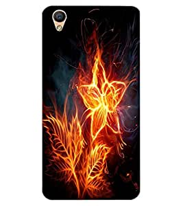 ColourCraft Flaming Flower Design Back Case Cover for OPPO F1 PLUS