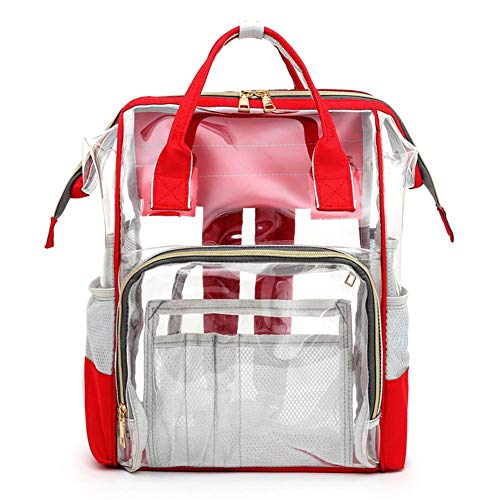 AFFEco Transparent Mommy Travel Backpacks Large PVC Maternity Nappy Bags (Red)