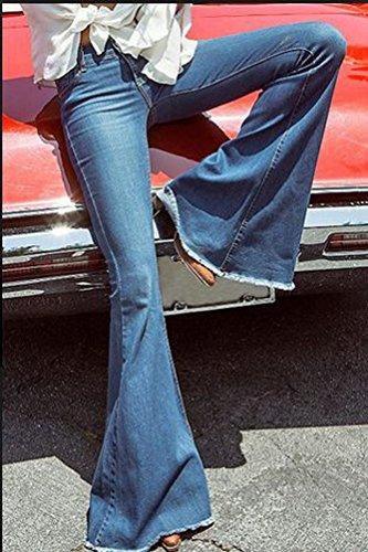 ZhiYuanAN Mujer Pantalon Vaquero Campana O Vaqueros Anchos Elástico  Mezclilla Pantalones Cómodo Casual Denim Jeans 891a87b1e9f8