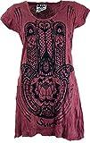 Guru-Shop Sure Long Shirt, Minikleid Fatimas Hand, Damen, Bordeaux, Baumwolle, Size:M (38), Bedrucktes Shirt Alternative Bekleidung