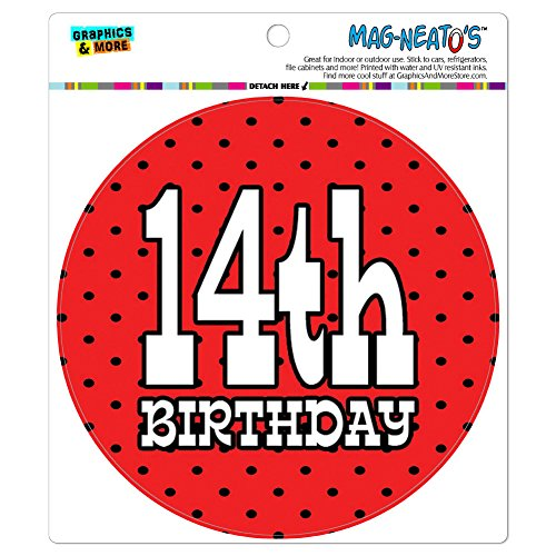 14. vierzehnten Geburtstag rot schwarz Polka Dots Mag-Neato 's-TM) Automotive Car Kühlschrank Locker Vinyl Magnet
