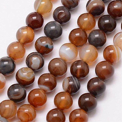30 Streifen Achat Perlen Rund Indische Braun Topas 8mm Edelsteine Halbedelstein Edelstein Achat Stein Schmuck Kette Armband Agate Gemstone Beads G735 x2 (Perlen Indisches Schmuck)
