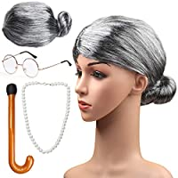 Beefunny Old Lady costume Set Grandmother Wig Grey Wig Grandma Wig Granny Glasses Artificial Pearl Necklace Fancy Dress Accessories (C)