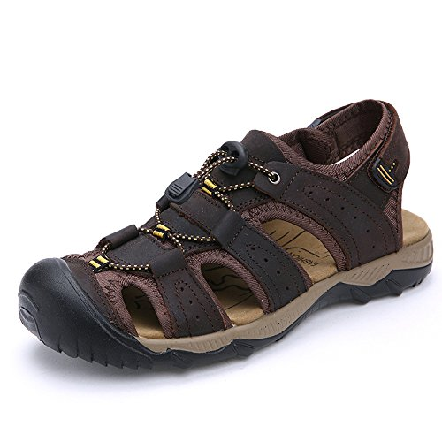 Sandalias Deportivas Para Hombres De Verano Sandalias Exteriores De Cuero Con Tacón Alto Zapatos De Trekking,Coffee-43