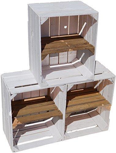 3er Set gebrauchte weiße massive Holzkisten mit altem Mittebrett