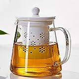 TAMUME 500ml Glas Teekanne mit Porzellan Teekanne Sieb (White)