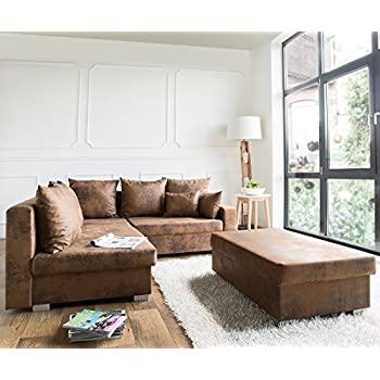 Couch Chesterfield Braun 200x92 cm Antik Optik abgesteppt 3-Sitzer ...