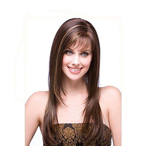 Meylee Perücken Markieren Sie lange geraden Haarperücke mit Atemluft Net weibliche Pony Frisuren Frauen voll (50er Mädchen Frisuren Jahre)