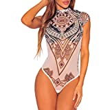 LAEMILIA Damen Bodys Rollkragen Lace Durchsichtig Ärmellos Bodysuit Mesh Tops Romper Shirts für Clubwear (M(36-38), Mehrfarbig)