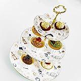 Panbado 3-stöckig Etagere aus Fine Bone China Porzellan für Muffin, Cupcake, Obst