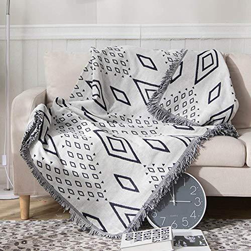 Telihome Decke für Bett Sofa Stuhl Wandteppich mit dekorativen Quasten Baumwolle gewebt Sofa Decke -