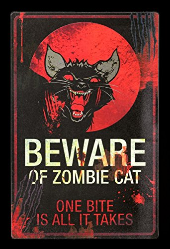 Lustiges Metall Warn Schild | Beware Of Zombie Cat | Katze Warnschild