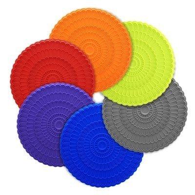 Zanmini Untersetzer Gläser Hitzerbeständig Coster Silikon Durchmesser 10.16 cm Schmuck und Schutz für die Gläser oder Tee Cups (Set von 6) Mehrfarbig