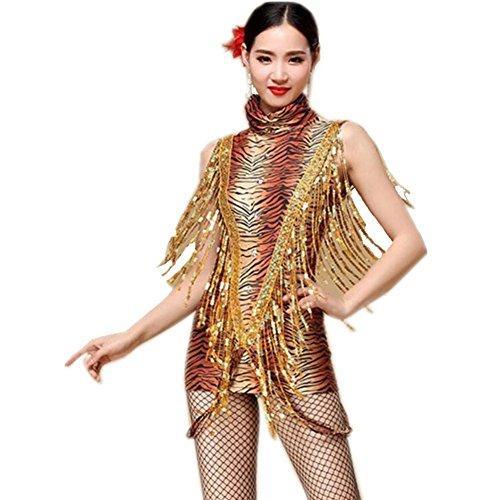 Latin Dance Outfit Leopard Tiger Streifen Quaste Sequins Diamond Handgefertigte Kostüm Professionelle Performance Stickerei Kleid Kleidung, b, l ()