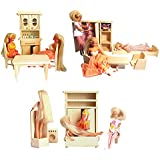 Children's Natural Pine Wooden Toys Set of 3, Bathroom, Kitchen and Bedroom for Doll House and Barbie Dolls