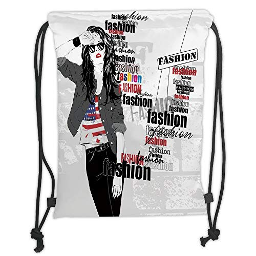 nted Drawstring Sack Backpacks Bags,Fashion House Decor,A Modern Girl with USA Flag Tshirt Colorful Thema Beauty in Street,Black White Soft Satin,T ()