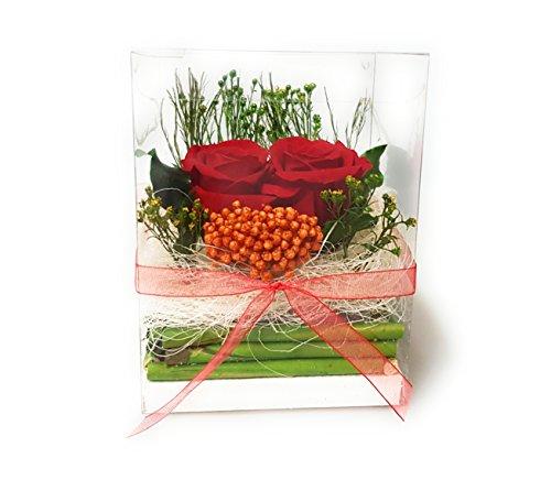 Rosen-te-amo Blumenbox – Flowerbox - Konservierte Rosen – Arrangement aus ECHTE Blumen in der Box, Blumen in der Rosenbox sind 3 Jahre lang haltbar (Box 2 H: 12 B: 9cm L: 9cm, Rot)