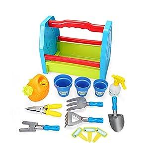 Joueco bn0217737Juegos de imitación-Set de jardinería, Azul/Verde/Rojo/Amarillo/Gris/Naranja