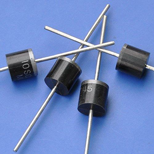 10 diodos barrera Schottky 10SQ045.  Corriente directa máxima: 10amperios. Corriente directa (en DC10A): 0,55V. Máximo bloqueo de voltaje DC: 45V. Paquete: R-6.  Cumple con la normativa RoHS.  Uso en bajo voltaje, convertidor de alta frecuenci...