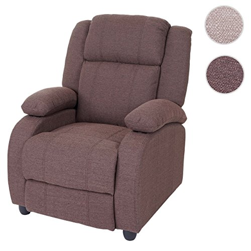 Mendler Fernsehsessel Lincoln, Relaxsessel Liege Sessel, Textil ~ Mahagony