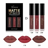 Lippenstift Matt, HUIHUI 3pcs Liquid Lipstick Set Schönheit Lippe Gloss Long Lasting Moisturizing Lippenstift Lip Gloss Fashionable Colors Matte Liquid Lipstick (D)