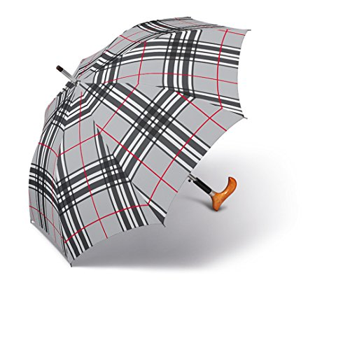 happy rain selection Regenschirm Stützschirm Gehstock Gehhilfe Long AC Stütz Fritz Holzgriff checks light grey / karo grau -