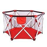 Parc bébé, parc pliable et portable pour bébés, parc hexagonal pliant avec filet respirant, jeu intérieur et extérieur pour les 0 à 4 ans (RED)