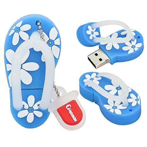 64GB-Blitz-Antriebs-Pantoffel-blaue Schuh-Form-USB 2.0 Neuheit-Pendrive-Gedächtnis-Stock-Daten-Speicher-Daumen-Antrieb U-Disketten-kühler Entwurfs-Daten-Speicher für Schulstudenten scherzt Kindergeschenke