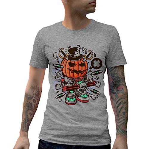 C089MCNTG Herren T-Shirt DJ Halloween Music Disco Club Food Retro Party Funny Stereo Disc Jokey Mono Jack Classic(Small,Grey)