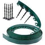 Bordura per aiuole Verde Chrispol System - lunghezza 10 metri, altezza 4 centimetri - bordi per aiuole flessibile - bordura per giardino plastica + 60 chiodi di fissaggio