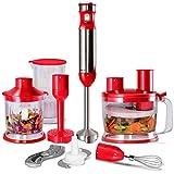 COSTWAY Stabmixer Set Mixstab Pürierstab Handmixer Mixer Zerkleinerer Küchenmaschine Edelstahl 1000W stufenlose Geschwindigkeit (Rot)