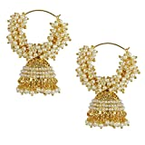 #9: Shining Diva White Pearl Jhumka Earrings For Women