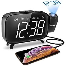 ELEGIANT Réveil à Projection, Radio Réveil Horloge FM Numérique à Projecteur Luminosité Réglable avec Double Alarme Miroir Grand Rotatif à 180°Recharge de Port USB (Alimentation Non Fournie)