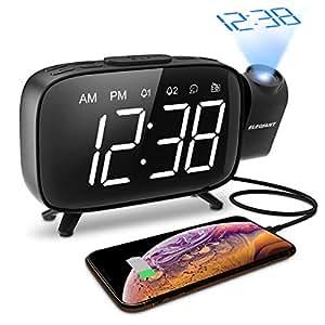 ELEGIANT Projektionswecker, FM Radiowecker Funk Wecker, 3 stufige Helligkeit mit Dimmer, Dual-Alarm und 12 Snooze, 7 Alarmtöne mit 6 Lautstärke, 180°Dreh-Projektor und Flip-Anzeige, USB-Anschluss