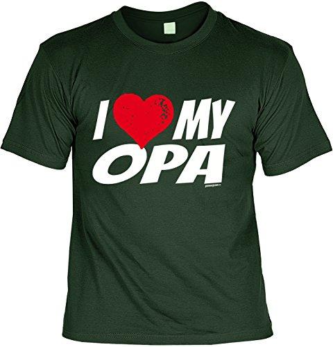 T-Shirt für Opa T-Shirt I love my Opa Geschenkidee Opa Geschenk für Opa lustiges Shirt für Opa Vatertag Großvater Funshirt Dunkelgrün