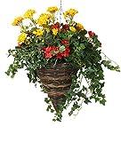 Closer2Nature Künstliche Begonie und Geranien, in Einem runden Weiden-Hängekorb, 35,6 cm, Polyester, rot/gelb, Cone