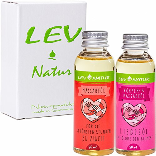 Massageöl Liebesöl Geschenkset Erotiköl 2 x 50ml mit herrlichem Duft, Naturprodukt direkt vom Hersteller