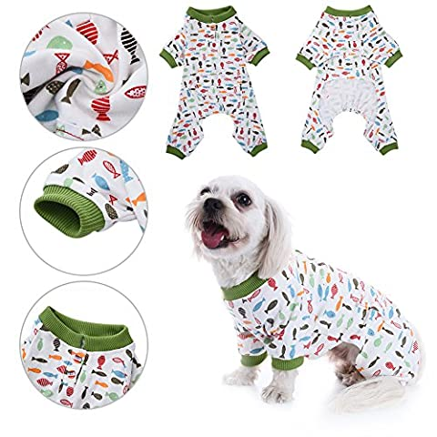 Pyjamas de chien Pet Cat Coton Vêtements de sommeil Cozy Puppy Doggy Accueil Wear Leisure & Durable Pet Jumpsuit par Awhao XS