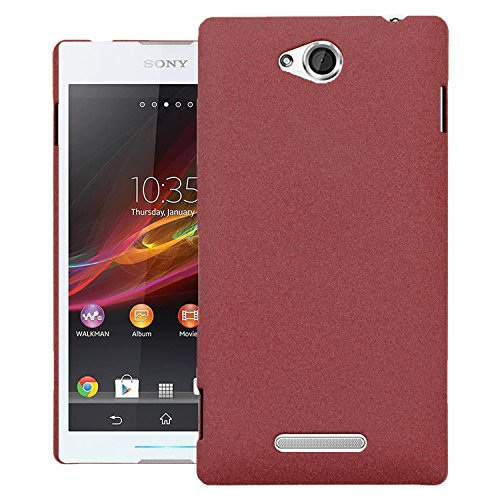 Heartly QuickSand Matte Finish Hybrid Flip Thin Hard Bumper Back Case Cover For Sony Xperia C C2305 S39H - Vintage Burgundy  available at amazon for Rs.199