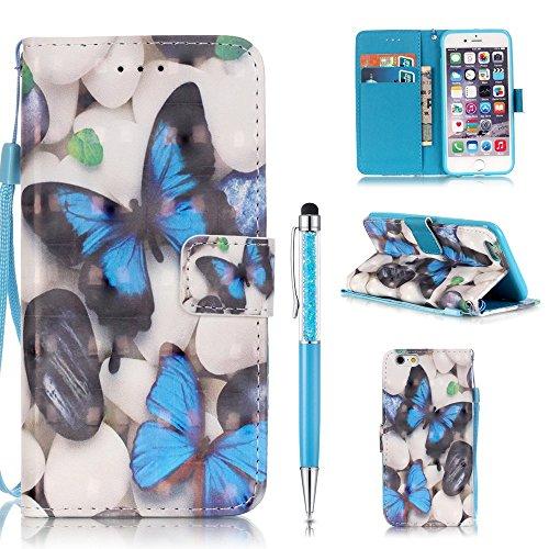 Custodia per iPhone 6,per iPhone 6S Cover in Pelle, ZCRO PU Cuoio Portafoglio Caso Magnetica Flip Case 3D Colorate Pattern Cover Custodia Libro con Cinturino e Penna Stilo per iPhone 6/6S 4.7 Pollici Farfalla Blu