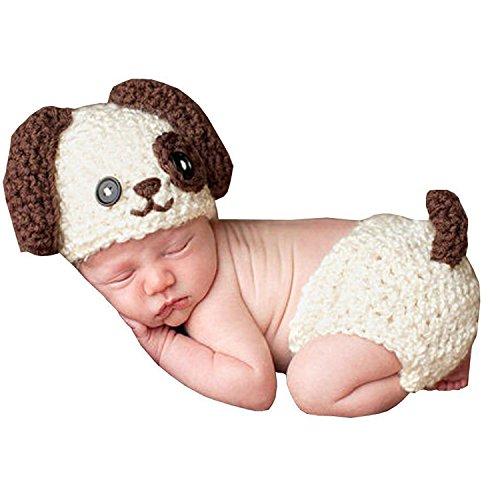 moinkerin Fotoshooting Strick Kleidung Neugeborene Hund Muster Baby Fotos Fotografie requisiten Kostüme Hut und Unterhose (Junge Hund Kostüme)