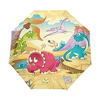 COOSUN Dinosaur Automatic 3 Folding Parasol Umbrella