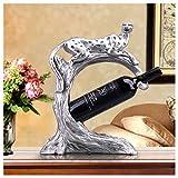 SMC Tier Weinregal Dekoration Europäischen Retro Wein Kabinett Dekoration Kreative Bar Wohnzimmer Veranda Möbel (Color : Silver)